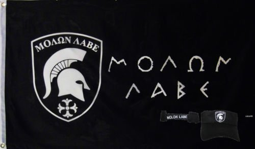 Wholesale Combo 3x5 Greek Come Take Flag & Molon Labe Black