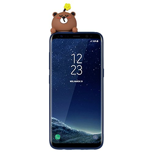 Funda Samsung S8, WE LOVE CASE Ultra Fina Slim Suave Funda Samsung Galaxy S8 Silicona Cubierta Clear Cover Original Flexible Gel Dibujos Anti Rasguños Choque con Diseño Protectora Resistente Funda Sam Bear Brown
