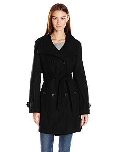 Calvin Klein Women's Wool Belted Double Breasted Coat, Black, XL (Black Belted Winter Coat)