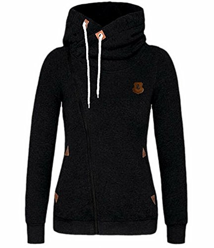 Ming ditian Popular Womens Fashion Oblique Zip Solid Long Sleeve Hoodie Jacket Black - Hi Malaysia Style