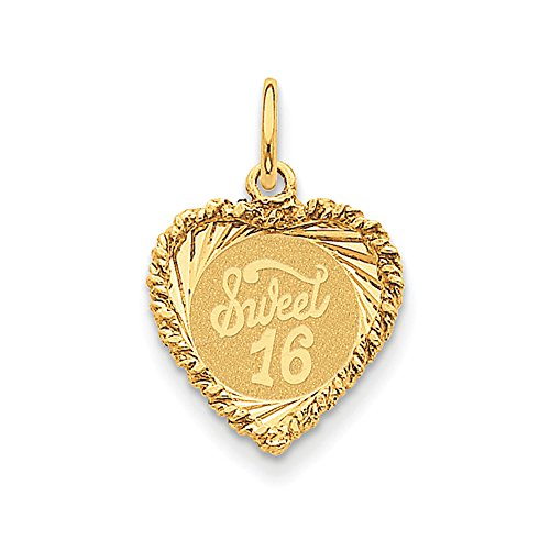 14k Yellow Gold Sweet 16 Heart Charm or Pendant, 15mm - Gold Sweet 16 Heart Charm