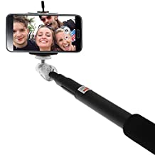 iGadgitz Black Extendable Telescopic Handheld Self Portrait Selfie Monopod Stick with Adjustable Phone Holder and Wrist Strap for LG K4, G3, G4, G5, Nexus 5X, V10, G4c, G4 Beat, G Flex, Optimum G Pro