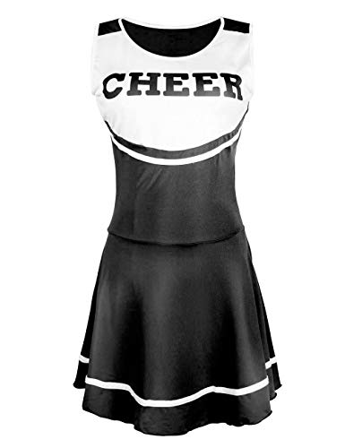 Cheerleaders Uniform Skirts - Hamour Womens' Cheerleader Costume Mini Skirt Fancy Dress Uniform (Black)