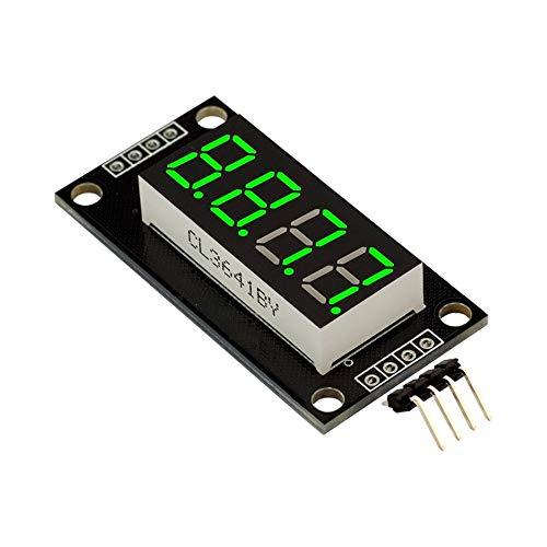 0.36 pulgadas Tm1637 Driver M/ódulo de visualizaci/ón de tubo digital LED de 4 d/ígitos Tablero de controlador de tubo digital para kits de bricolaje Arduino Verde