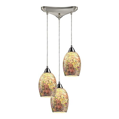 - Elk 73021-3 Avalon 3-Light Pendant with Hand Painted Crackled Glass Shade, 10 by 6-Inch, Satin Nickel Finish