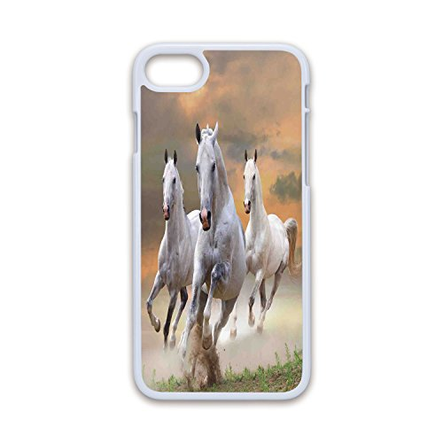Phone Case Compatible with iPhone7 iPhone8 White Soft Edges 2D Print,Animal Decor,Stallion Horses Running on a Mystical Sky Background Equestrian Male Champions Print,White Orange,Hard Plastic Ph