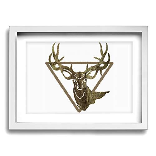 CLLSHOME 12x16 Inches Wall Decor Toilet Bathroom Framed Art Print Picture Deer Hunting - Deer Head Camoflauge Deer Wall Art for Home Decorations (Head Deer Framed)