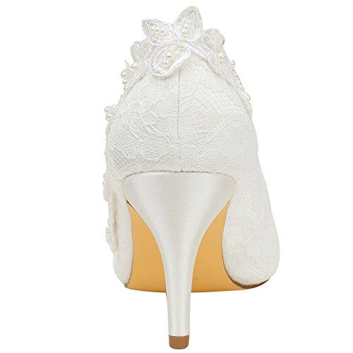 La la Raso bianco Tallone Perla delle con Raso la Bridal Come Emily Sposa da Donne Pompa del Seta del del Scarpe 7U6cqI