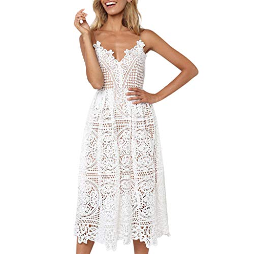 WugeshangmaoWomen's Party Dress Elegant Summer Solid V-Neck Hollow Lace Patchwork Swallowtail Sling Long Dress White