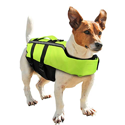 BIBISTORE Foldable Dog Life Jacket with Airbag Fluorescent Green Inflatable Pet Life Vest Dog Safety Swimwear Puppy Swimming Coat Swimsuit for Dogs Surfing Boating (S)