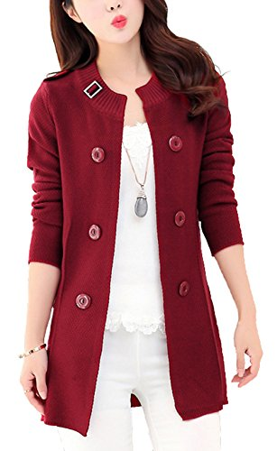 CLJJ7 Women s Loose Open Front Mid-long Knit Cardigan Sweater (X-Small, Wine Red)