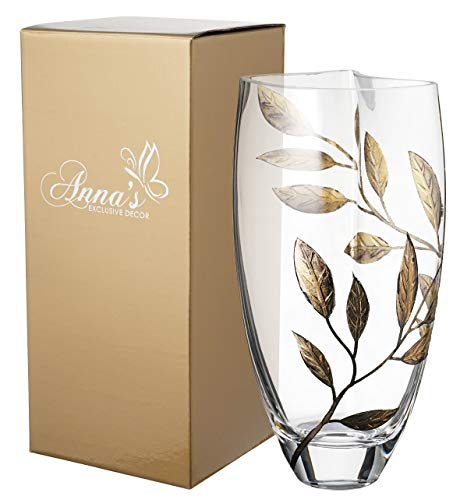 Anna's Exclusive Decor Luxury Hand Blown Glass Vase - Decorated with Sandblasted and Painted Leaves - in a Golden Gift Box - Clear Unique Shape Vase - 11.4 inch (29 cm) (Gold)