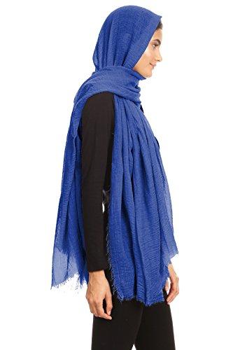 Abeelah Cotton Crinkle Hijab Scarf- Muslim, Indian, African Fashion Compatible (Royal Blue) by Abeelah (Image #3)