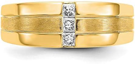 Men's 14k Yellow Gold Diamond and Satin Ring, Size 10