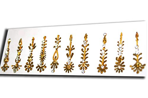 Angelic BINDI Set. Gold Face Gems Jewels. 10 Bindis and 9 Studs. Gift for -