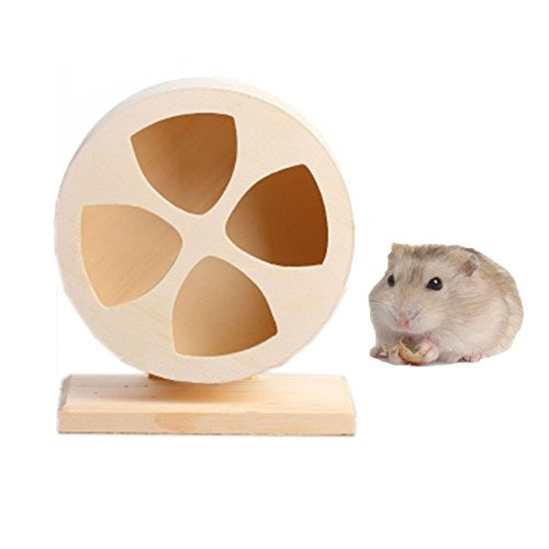 Tread Wheel (Fashionclubs Hamster Wooden Spinner Exercise Running Silent Wheel Small Animals Climbing House)