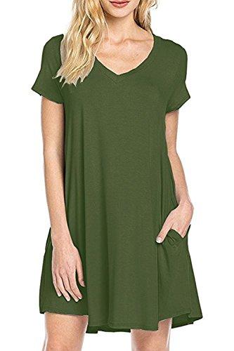Women's Summer Fashion Casual Plus Size Short Sleeve Dress Green - 8