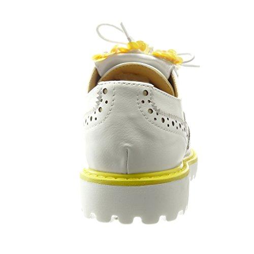 Angkorly - damen Schuhe Brogue Schuh - Blumen - Franse - Perforiert Keilabsatz high heel 3 CM - Gelb