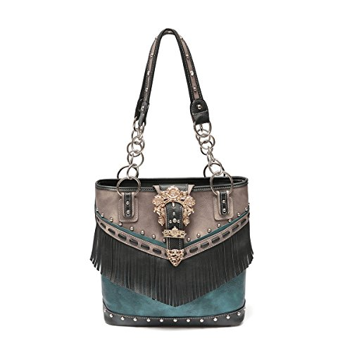 Western Handbag - Gold Buckle Stud Accented with front Fringe Décor Traditional Two-Toned Concealed Carry Tote Bag (Black)