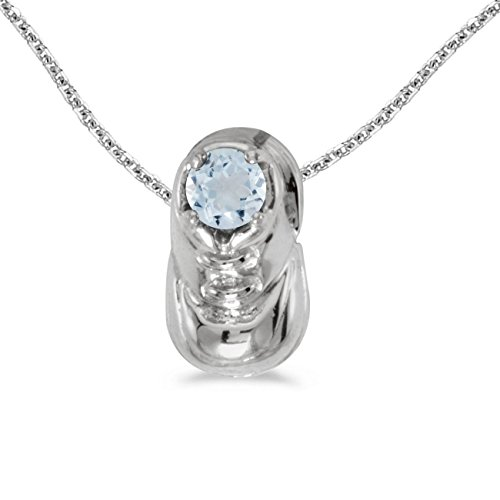 Baby Necklace Bootie - FB Jewels Solid 14k White Gold Genuine Birthstone Round Aquamarine Baby Bootie Pendant (1/5 Cttw.)