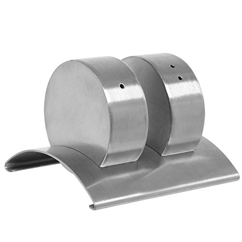 Access 3 Piece Modern Small Round Disk-Shape Stainless Steel Table Salt & Pepper Shaker Set w/ Holder - MyGift cheapest
