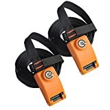 Onefeng Sports Lockable Tie Down Strap with Steel Core - 2 Pack (2pack 10 ft)