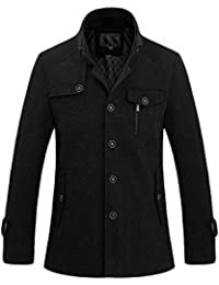 Men's Fashion Single Breasted Wool-Blend Sherpa Lined Insulated Pea Coats