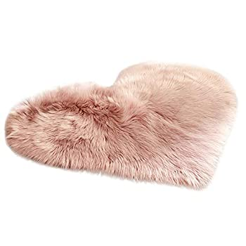 Harpi Heart-Shaped Wool Imitation Sheepskin Rugs Faux Fur Non Slip Bedroom Shaggy Carpet Mats
