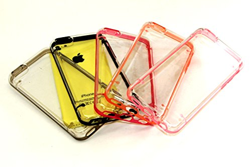 iPhone 5C Case, Wholesale 5pcs/lot 5 Colors Color Trim Crystal Clear PC Back Hard Cover Bumper Case Skin for iPhone 5C (Pink, Orange, Hot Pink, Black, Grey) from EZstation