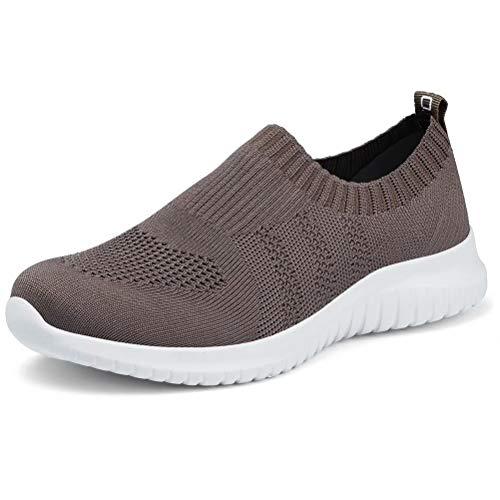 konhill Women's Walking Tennis Shoes - Lightweight Athletic Casual Gym Slip on Sneakers 6.5 US Brown,37 ()