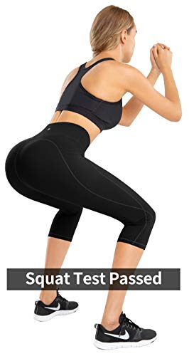 IKEEP High Waist Yoga Pants with Pockets for Women, Tummy Control, Non See Through, 4 Way Stretch Workout Yoga Leggings Capri