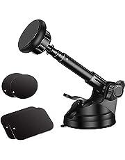 Magnetische telefoonhouder met 6 sterke magneten voor dashboard en voorruit, telescooparm van metaal, compatibel met iPhone XS Max/XR/XS/X/8/7/6/6S, Galaxy S9/S8/S7/Note9/Note8