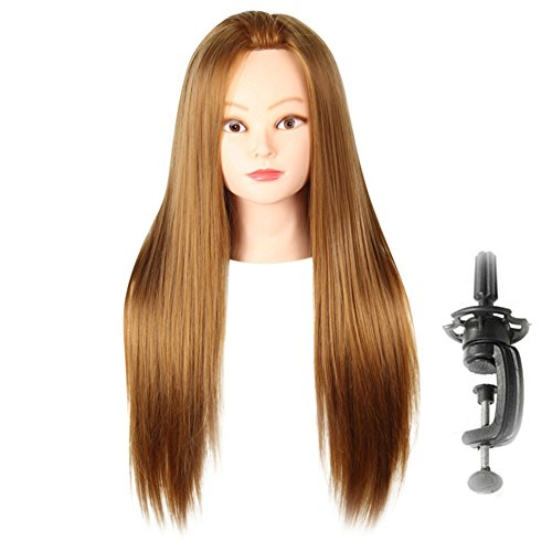 "Aibelly Synthetic Full Hair Wig 20"" Long Straight Side Parting Wigs with Stand Hair Training Head Makeup Braiding Practice Mannequin Hairdressing Styling Design Fashion Noble Parting Replacement"