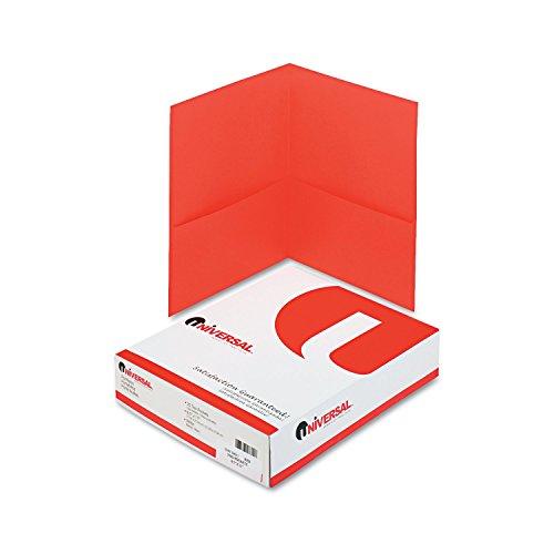 Universal Two-Pocket Portfolio, Embossed Leather Grain Paper, Red, 25/Box (56611) 2 Pocket Portfolio Die Cut