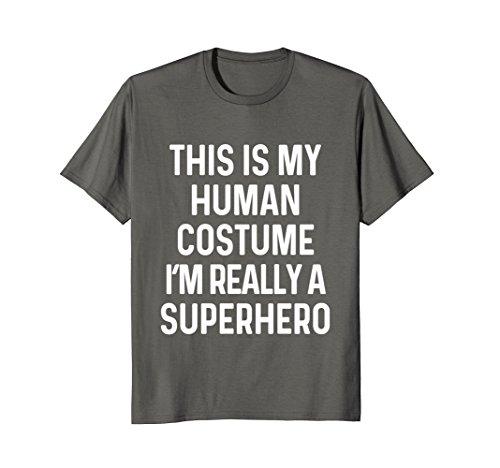 Mens Funny Superhero Costume Shirt Halloween Kids Adult Men Women Large (Mens Funny Halloween Costume Ideas)