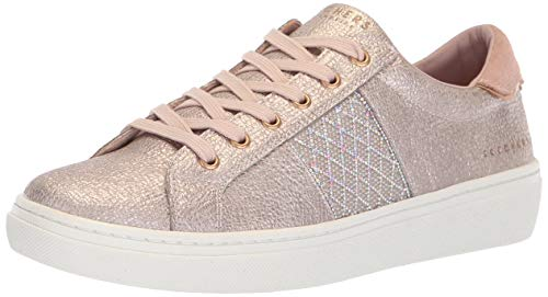 (Skechers Women's Goldie-Glitzy Mitzy. Quilted Rhinestone qtr Trim Metallic lace up. Sneaker, Rose Gold, 10 M US)