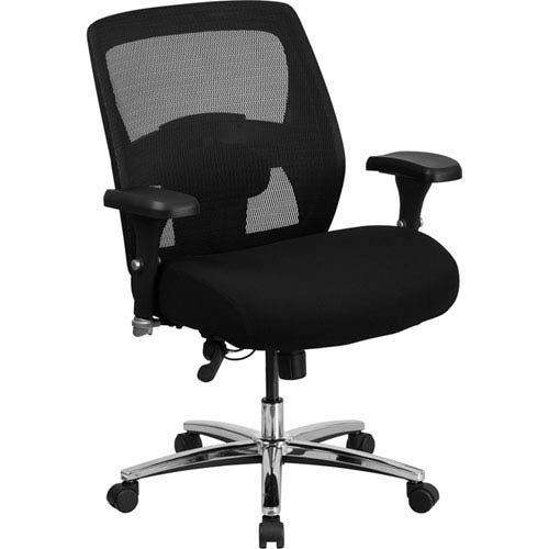 Parkside Series 24/7 Multi-Shift, Big and Tall 500 lb. Capacity Black Mesh Multi-Functional Executive Swivel Chair with Ratchet Back Back Multi Shift Chair