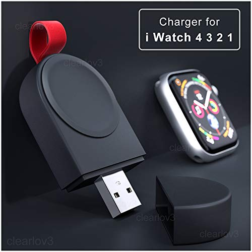 UPSTONE Watch Charger, Portable Magnetic Wireless for iWatch Charger Compatible for Apple Watch Series 4 Series 3 Series 2 Series 1 44mm 42mm 40mm 38mm USB Charging Cable, Input 2W Black ()