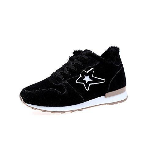Winter Women Casual Boots Add Short Plush Warm Flat Shoes Lace-Up Non-Slip Wear-Resistant Rubber Soles Boots Black Add Plush -