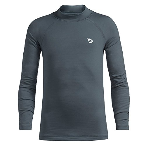 Baleaf Youth Boys' Thermal Shirt Fleece Baselayer Long Sleeve Mock Top Gray Size (Gray Thermal Long Sleeve Shirt)