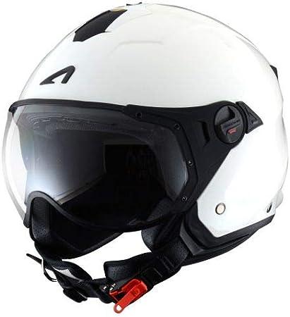 Astone Helmets Casque de moto look sport Casque jet compact Casque de scooter mixte Casque en polycarbonate -Gloss white XS MINIJET S SPORT monocolor