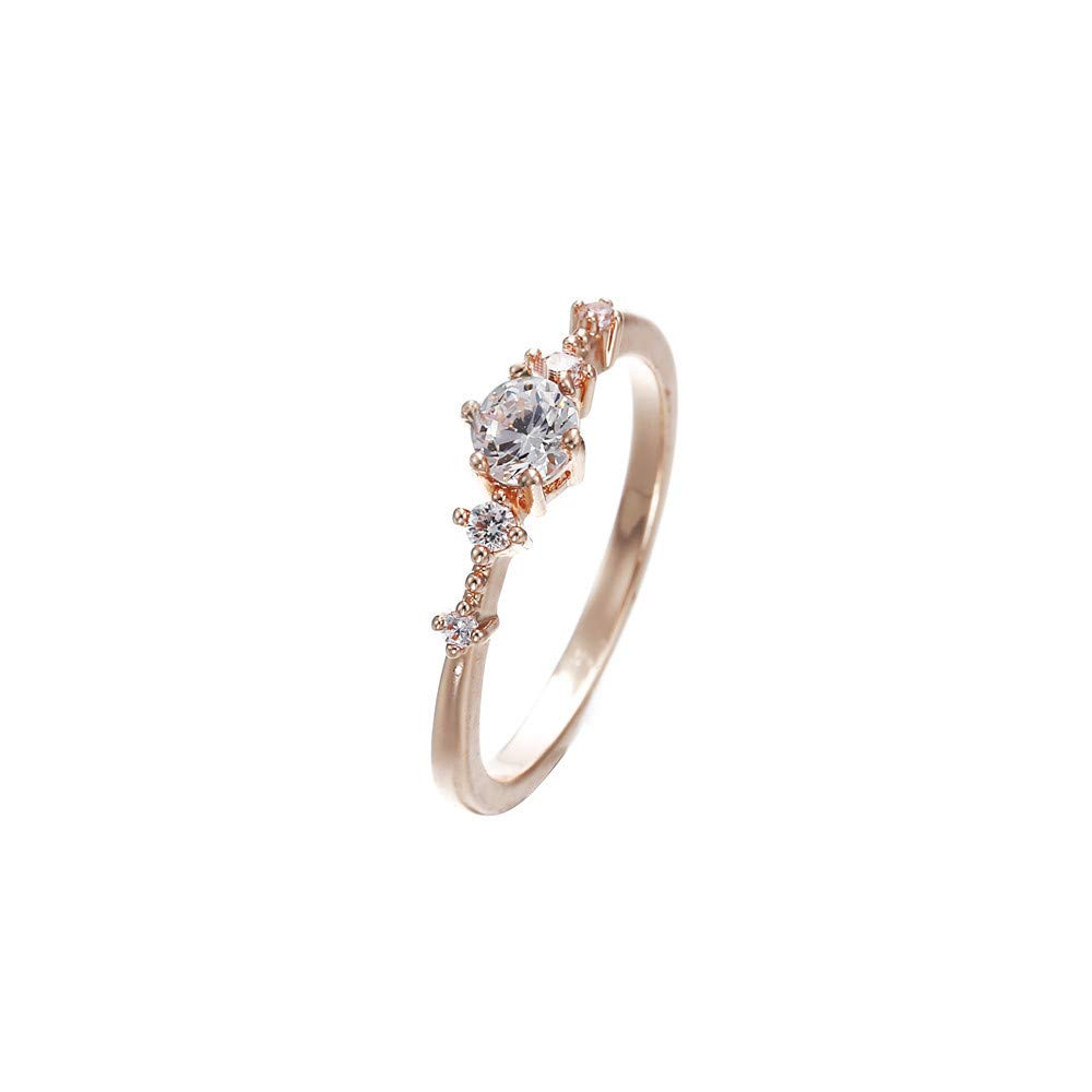 Kstare Micro-Set Diamond Ring Wedding Fashion Gift Rose Gold Five Diamond Ring