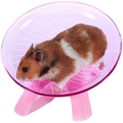Wildgirl Small Pet Hamster Flying Saucer Exercise Wheel Jogging Running Silent Spinner (Pink)