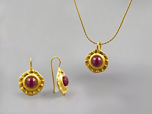 Red Ruby Gemstone Round Jewelry Set For Women 24K Gold Plated July Birthstone Jewelry Ruby Necklace Pendant Earring Set Gift for Women Ruby Jewelry Genuine Natural Stone Jewelry Unique Gift For Her by Chen Fuchs Jewelry