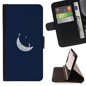 For LG Nexus 5 D820 D821 Case , Luna Azul Arte Minimalista- la tarjeta de Crédito Slots PU Funda de cuero Monedero caso cubierta de piel