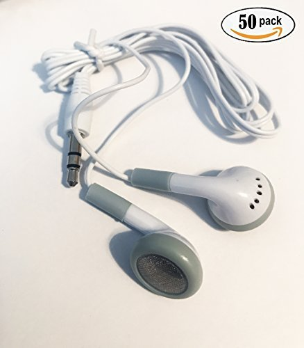BULK WHOLESALE Lot of 50 WHITE/GRAY 3.5mm In Ear Earbuds / Headphones / Earphones GREAT For Schools, Libraries, Hospitals, Kids etc. ()