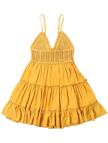 ZAFUL Women's Crochet Spaghetti Straps Summer Dress High Waisted Flare A Line Mini Dress(Yellow-S)