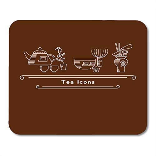 Boszina Mouse Pads Black Tea for Cafes and Restaurants Line in The Chinese and Japanese Ceremony Teapots Cups and Other Mouse Pad for notebooks,Desktop Computers mats 9.5