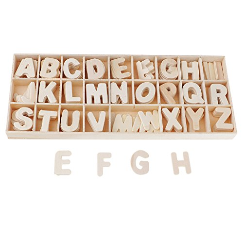 Baoblaze 156 Pieces Set Wooden Letters - Wooden Craft Alphabet with Storage Tray - Unpainted Wood Upper Case Kids Learning Toy, Scrapbooking ()