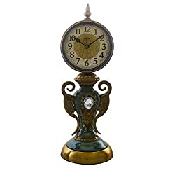 IMPORTED GIFT DEPOT Brass & Ceramic Tabletop Mantel Standing Clock, Antique Inspired, Dark Turquoise Color, ZP914 White Gem Accent w/Handles